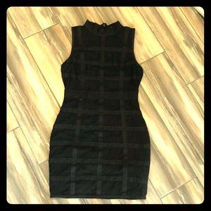 Black sleeveless hi neck bodycon elastic dress